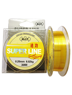 Леска BAT SUPER LINE YELLOW 30м./ 0,08 (монофил) уп:10шт