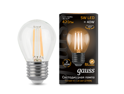 Gauss LED Filament Globe Dimmable P40 5w 827/840 E27
