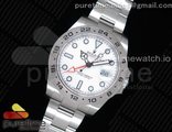 Explorer II 42mm 216570 Black 904L SS GMF 1:1 Best Edition White Dial on Bracelet A3186