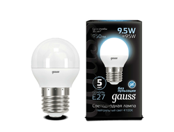 Gauss LED Globe 9.5w 840 E27