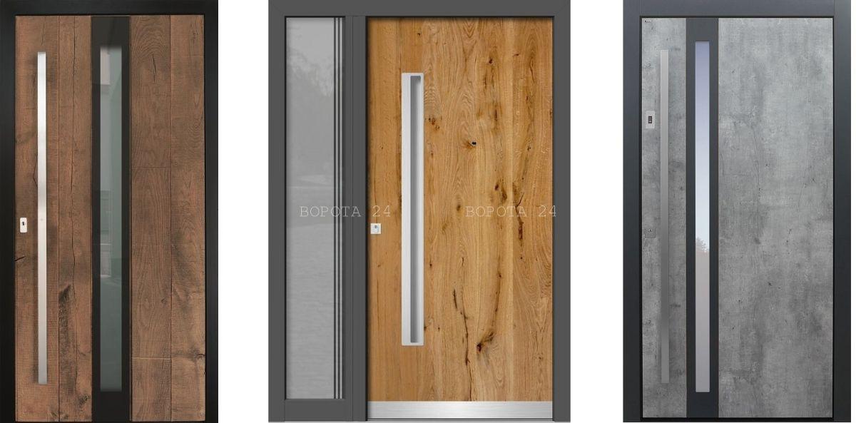 входные двери в частный дом со стеклом - бронированные в современном стиле - выбор дизайна