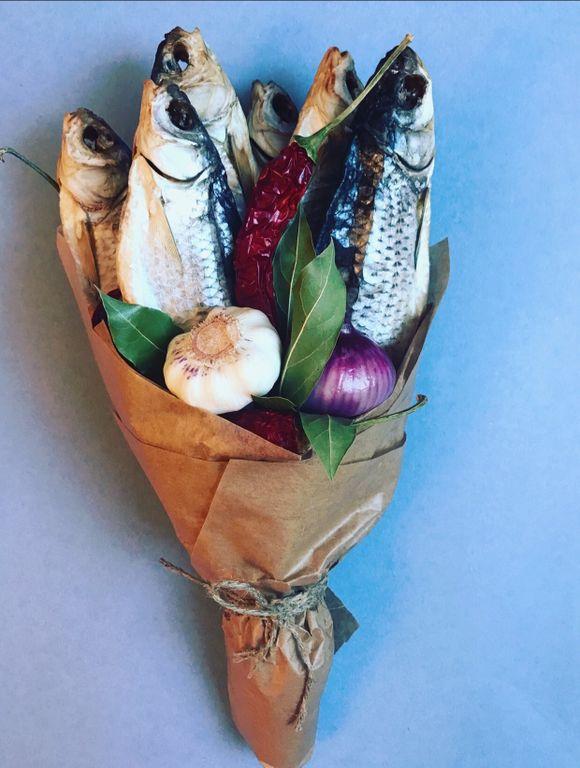 Мужской букет из рыбы купить, букет