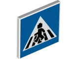 Road Sign 2 x 2 Square with Open O Clip with Crosswalk with Minifigure Pattern, White (15210pb084 / 6329595)
