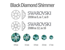 Мини-микс страз для маникюра Black Diamond Shimmer - 30шт