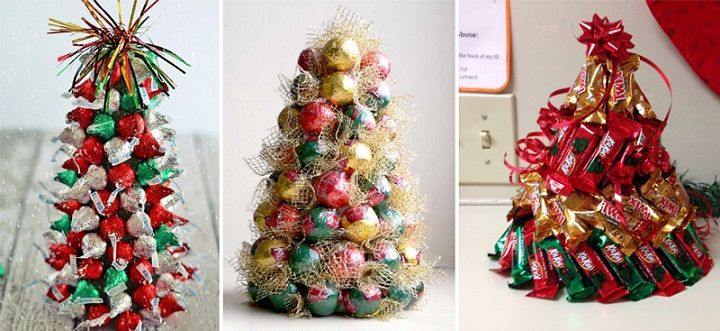 картинка новогодней елки из конфет своими руками