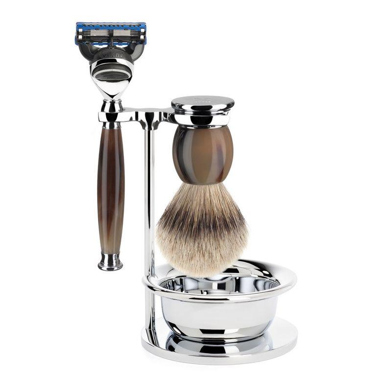 Бритвенный набор Muehle Sophist, натуральный рог, барсучий ворс высшей категории Silvertip, бритва Fusion, чаша