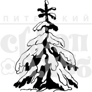 Штамп для скрапбукинга елка в снегу нарисованная