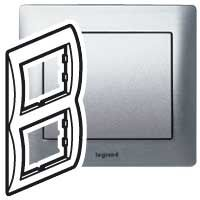 Legrand 771956, Рамка 2 поста вертикальная, Metal Brushed Aluminium