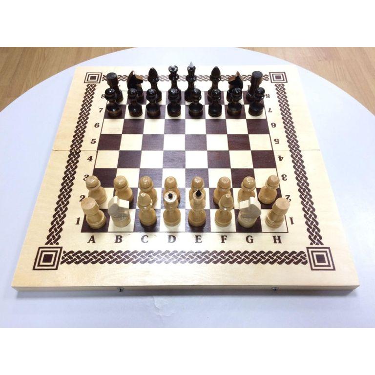 Шахматы+шашки+нарды деревянные (Россия)