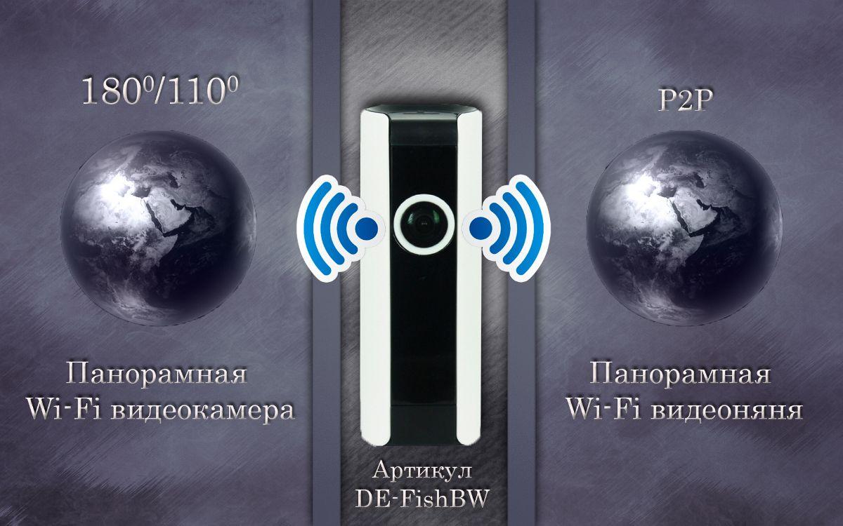 Видеоняня /WiFi IP видеокамера панорамная 180*110* с DVR (fish-BW), HD Артикул: DE-WfishBW