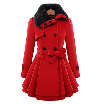 Женский На каждый день Однотонный Пальто