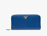 Prada Metallic Gold Wallet Cornflower Blue