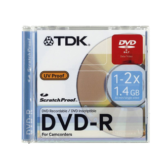 Диск TDK DVD-R  Scratchproof 60 min для видеокамеры 1-2х UV-Proof