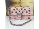 PINKO LOVE BAG SUEDE WITH ALL OVER STUDS IN PINK