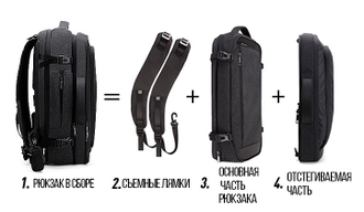 Сумка-рюкзак 2 в 1 ARCTIC HUNTER B00210 Серый + Powerbank