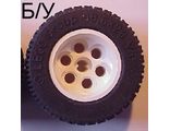! Б/У - Wheel 36.8mm D. x 26mm VR with Axle Hole, with Black Tire 49.6 x 28 VR 6595 / 6594, White (6595c02) - Б/У