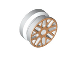 Wheel 11mm D. x 6mm with 8 'Y' Spokes with Gold Outline Pattern, White (93595pb01 / 4623355 / 6023681)