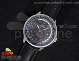 Portuguese Automatic Yacht Club SS Black Dial Red Hand on Black Leather Strap