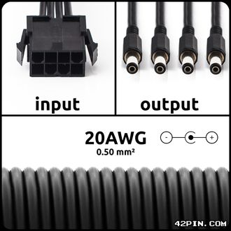 Переходник 1x8pin CPU >> 4 x Barrel 5.5x2.1mm 20AWG, длина 30-120 см
