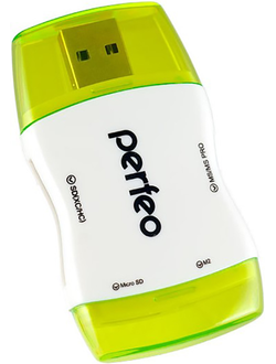 Картридер Perfeo Card Reader SD/MMC+Micro SD+MS+M2, (PF-VI-R016 Green)
