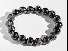 Браслет Агат чёрный шар 12мм (размер 17,5 см) №18808