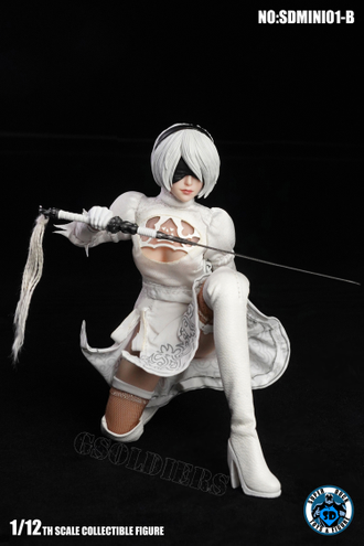 АНДРОИД 2B ИЗ ИГРЫ NIER: AUTOMATA Коллекционная фигурка 1/12 Scale Cosplay SDMINI001-B SUPER DUCK