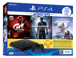 Игровая консоль Sony PlayStation 4 Slim (500Gb) Black + HZD + UNC4 + GTS + 3 мес