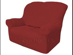 Чехол Соты на 2-х местный диван, цвет Бордовый
