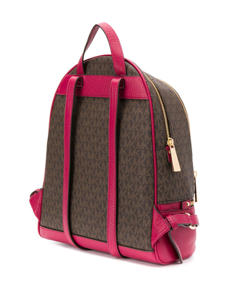 Рюкзак Michael Kors Rhea small leather backpack brown pink MK logo