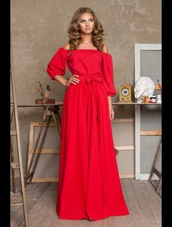 легкое вечернее платье красного цвета открытые плечи 792bfd9392b6c