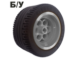 ! Б/У - Wheel 36.8mm D. x 26mm VR with Axle Hole, with Black Tire 49.6 x 28 VR 6595 / 6594, Light Gray (6595c02) - Б/У