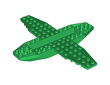 Aircraft Fuselage 4 x 16 x 1 with 2 x 10 Recessed Center and 8 x 4 Wings with Cutaways, 9 Holes, Green (35106 / 6226793)