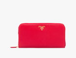 Prada Metallic Gold Wallet Red