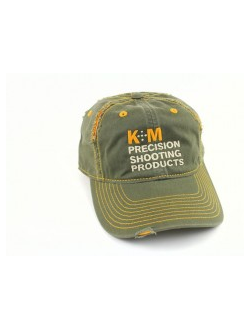 K&M Logo Hat Distressed Look - Army/Gold 100% Cotton Twill, бейсболка