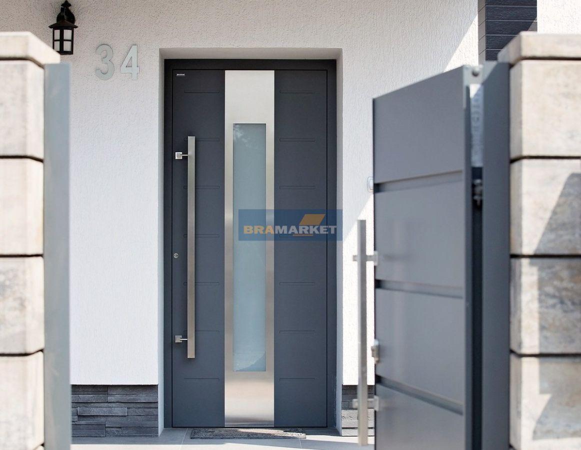Двери Ритерна с красивой ручкой и со стеклом - алюминиевые современные конструкции
