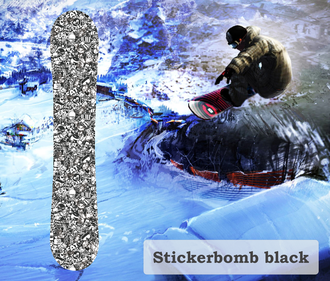 Наклейка на сноуборд Stickerbomb black