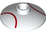 Dish 2 x 2 Inverted Radar with Red Baseball Lines / Laces Pattern, White (4740pb016 / 6227147)