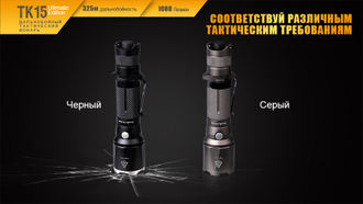 Тактический фонарь Fenix TK15UE CREE XP-L HI V3 LED Ultimate Edition серый