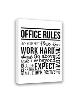 "Картина-мотиватор на деревянном подрамнике ""Office rules"","