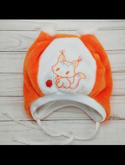 Шапка для девочки (Артикул 347) цвет оранжевый