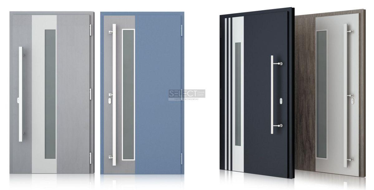 Двери наружные из теплого алюминия профиля и металлическим полотном - Установка Киев
