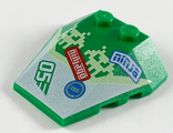 Wedge 4 x 4 Triple with Stud Notches with Pixel Aliens, ninjago, ninja and 05 Pattern, Green (48933pb033 / 6290500)