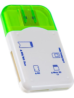 Картридер Perfeo Card Reader SD/MMC+Micro SD+MS+M2 (PF-VI-R010-Green)