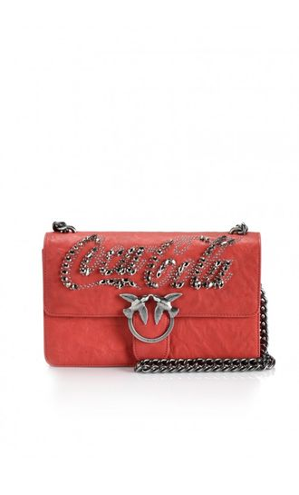 PINKO WORN-LEATHER LOVE BAG MARS RED