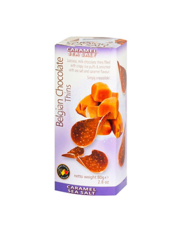 Шоколадные чипсы Belgian Chocolate Thins Caramel Sea Salt