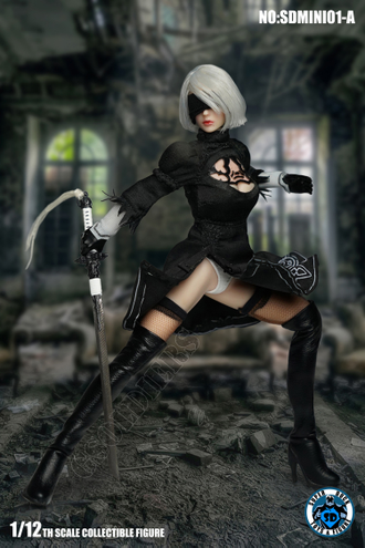 АНДРОИД 2B ИЗ ИГРЫ NIER: AUTOMATA - Коллекционная фигурка 1/12 Scale Cosplay SDMINI001-A SUPER DUCK