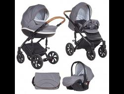 Универсальная коляска Tutis Zippy MIMI Style (3 в 1) Цвет Серый лен/серо-белый узор/кожа коричневая