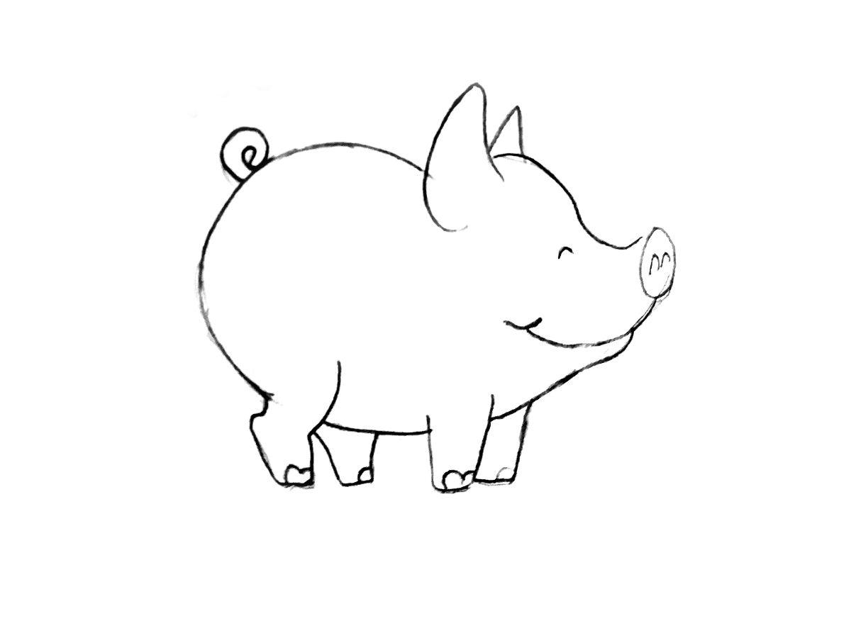 Рисунок свиньи карандашом для детей