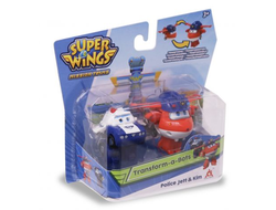 Мини-трансформеры Auldey Super Wings 2 в 1 Джетт и Пол (команда Полиции), EU730002A
