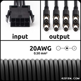 Переходник 1x8pin CPU >> 8 x Barrel 5.5x2.1mm 20AWG, длина 30-120 см